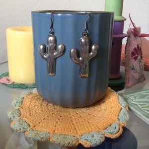 925 Silver Cactus Earrings Mexico